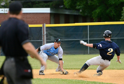 Mystic Schooners shortstop Anthony Turgeon locks the door on second for a first inning out on Saratoga Brigade runner Duncan Wendel during the inaugural game of the Saratoga Brigade squad Thursday at East Side Rec. Ed Burke 6/6/13