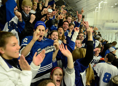 Blue Streak hockey fans celebrate Saturday's 3-2 win over Suffern in Monsey. Ed Burke 3/2/13