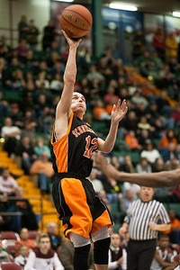 Schuylerville Black Horse Tyler Hayes goes for a shot on the basket during the game against the Watervliet Cannoneers Saturday evening at the Glens Falls Civic Center. Photo Eric Jenks 3/2/13