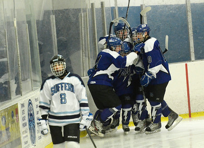 Blue Streaks celebrate Matt Flynn's ist period goal over Suffern Friday during state quarter-finals in Monsey. Ed Burke 3/2/13