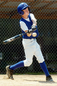 Saratoga Americans Quinn Beckwith up to bat during their District 11 Little League Championship Saturday afternoon at West Side Rec against Hudson Falls. Photo Erica Miller 7/17/10 spt_SarAmHuds2_Sun