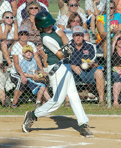CP's Ben Anderson gets a base hit during Tuesday's game against North Colonie at Blatnick Park in Niskayuna. Ed Burke 7/27/10
