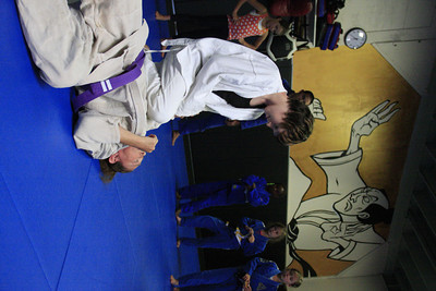 Shaun Walker/The Times-Standard  Jordan Maneis, 11, practices defending being choked from behind and pulled off balance with Lead Instructor Betsy Roberts at a youth jiu jitsu session at North Coast Self Defense Academy in Arcata on Wednesday. The class teaches the basics of Brazilian jiu jitsu and the Gracie BullyProof system, which is designed to to instill unshakable confidence in children so they can overcome bullies without violence. They learn verbal assertiveness to deter bullies, several non-violent self-defense techniques to stay safe if physically assaulted, and not how to punch or kick.