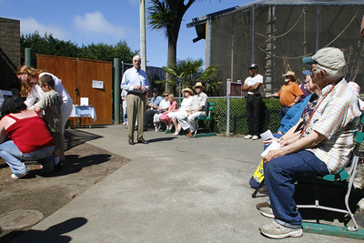 Josh Jackson/The Times-Standard  An appreciation ceremony was held Sunday for Bill the Chimp at the chimp's former enclosure at the Sequoia Park Zoo.