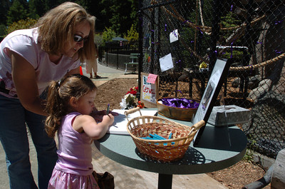 Mark McKenna/The Times-Standard Sandy Ratcliffe, of Glendale, Arizona, helps daughter Rylee, sign the memory book left for people to pay their respects to Bill.