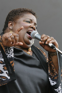 Josh Jackson/The Times-Standard  Sista Monica Parker performs at Blues By the Bay in Halvorsen Park on Sunday.