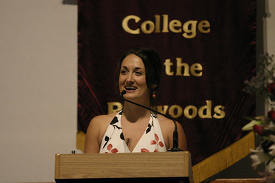 Josh Jackson/The Times-Standard  Kellye Egan delivers her keynote speech during the Registered Nursing Class of 2007 Pinning Ceremony at College of the Redwoods on Saturday.