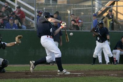 Josh Jackson/The Times-Standard  Crabs' Richard Cates makes contact during Friday's game against the Redding Colt 45's.