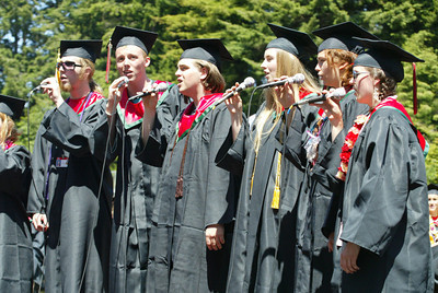 Shaun Walker/The Times-Standard  The seniors from Eureka High's Limited Edition sing during the ceremony.