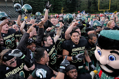 Josh Jackson/The Times-Standard  The Humboldt State University Lumberjacks cheer after winning the GNAC Championship game in Arcata on Saturday.