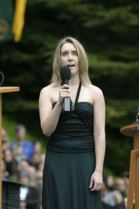 Josh Jackson/The Times-Standard  Sereny Zelezny sings the National Anthem during the College of Natural Resources and Sciences graduation ceremony at Humboldt State University on Saturday.