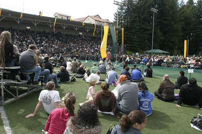 Josh Jackson/The Times-Standard  The sun made an appearance at the final graduation ceremony at Humboldt State University on Saturday after cloudy skies drizzled intermittently on the first two ceremonies.