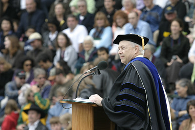 Josh Jackson/The Times-Standard  James Howard, Dean of the College of Natural Resources and Sciences, delivers a speech before the presentation of degrees during the College of Natural Resources and Sciences graduation ceremony on Saturday at Humboldt State University.