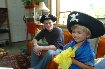 Mark McKenna/The Times-Standard Zacc Dray and his 4-year-old cousin Jessiah Class don pirate hats shortly after their first face to face meeting. Dray is going to donate a kidney to class.