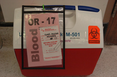 Mark McKenna/ The Times-Standard Blood matched for Jessiah Class sits ready in and ice chest should it be needed during a kidney transplant operation at UCSF Medical Center.