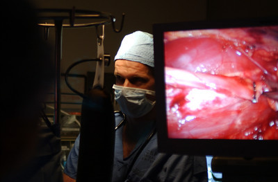 Mark McKenna/ The Times-Standard An anesthesiologist monitors Zacc Dray while his surgery is displayed on a monitor at UCSF Medical Center.