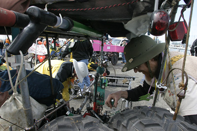 """Josh Jackson/The Times-Standard  Allen Brown, right, and Dave Neiman, of Corvallis, Oregon, get """"Kangarex"""" ready for on-road racing during the Humboldt Bay crossing section of the course in day two of the Kinetic Grand Championship."""