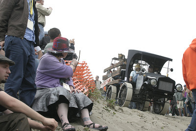 """Josh Jackson/The Times-Standard  """"The Deliverance Truck"""" prepares to brave Dead Man's Drop in the Samoa Dunes during day one of the Kinetic Grand Championship on Saturday."""