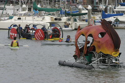 """Josh Jackson/The Times-Standard  """"June's Bloom"""" trails """"Easy, That Was"""" during the Humboldt Bay crossing section of the course in day two of the Kinetic Grand Championship."""