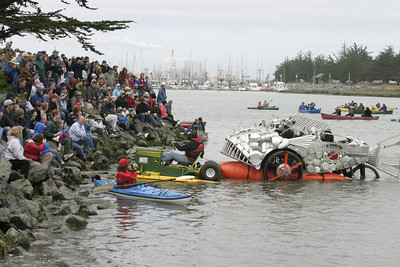 """Josh Jackson/The Times-Standard  """"Armored Carp"""" noses up against """"Ain't No John Deere"""" along the shoreline during the Humboldt Bay crossing section of the course in day two of the Kinetic Grand Championship."""