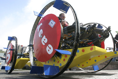 """Josh Jackson/The Times-Standard  """"Easy, That Was"""" pulls out of the water during the Humboldt Bay crossing section of the course in day two of the Kinetic Grand Championship."""