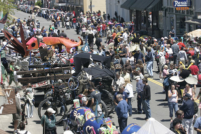 Josh Jackson/The Times-Standard  Racers lined Main Street during the finish of the Kinetic Grand Championship in Ferndale on Monday.