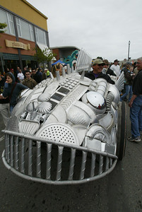 """Shaun Walker/The Times-Standard  Artist Duane Flatmo and friends' """"Armored Carp"""" kinetic sculpture rolled around the plaza for a bit."""