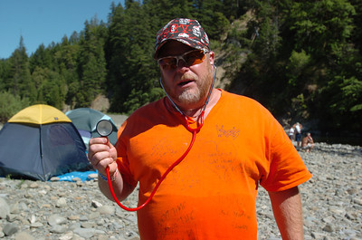 Mark McKenna/The Times-Standard  Self proclaimed lifeguard of the weasels, Micheal Cardenas from Sacrameto was attending his 19th Redwood Run.