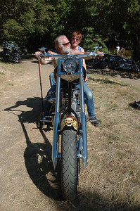 Mark McKenna/The Times-Standard Dewey and Deedra Alexy of Eureka were planning to enter their 2005 custom Harley-Davidson in the motorcycle contest at the Redwood Run. Their son painted the motorcycle for them.