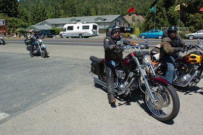 Mark McKenna/The Times-Standard  Jeff Watson rode from Eugene, Oregon on his 2000 FXST to attend the 30th annual Redwood Run.