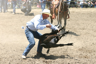 Josh Jackson/The Times-Standard  Dusty Bravos competes in tie-down roping in the CCPRA Rodeo at the Redwood Acres Fair and Rodeo on Saturday.