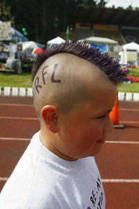 Josh Jackson/The Times-Standard  Chance Robers, 9, shows off his mohawk with custom paint job at the 2007 Relay for Life at College of the Redwoods on Saturday.