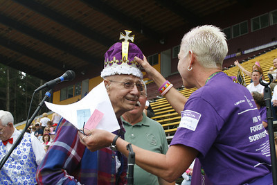 Josh Jackson/The Times-Standard  The 2007 Relay for Life King and Queen are crowned at College of the Redwoods on Friday. Pat Rassbach and Ernie Bednar received the honors during the opening ceremonies.