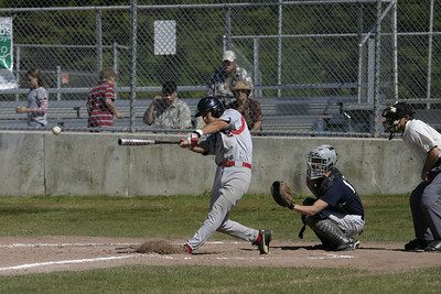 Josh Jackson/The Times-Standard  76ers' Kyle Miranda gets a hit in game one of Friday's doubleheader at Redwood Fields in Cutten.