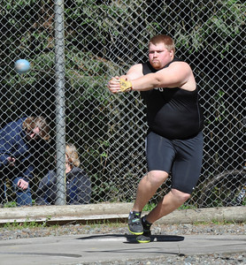 José Quezada/For the Times-Standard  Chico State University hammer thrower Eric Wright, a Eureka High School graduate in 2007, was leading in the competition after the third round.