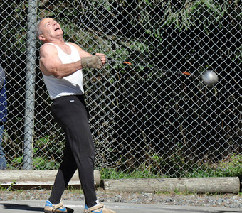 José Quezada/For the Times-Standard  68-year old Richard Stepp of Arcata competes in the Alumni/Coaches hammer throw competition during the Humboldt State University Track and Field invitational Saturday October 9. Stepp was a Physics professor at Humboldt State University for 40 years.
