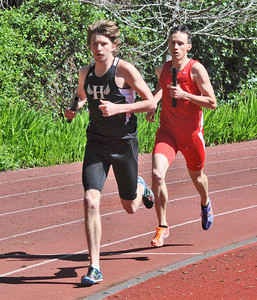 José Quezada/For the Times-Standard  Max Bell running anchor in the Men's Distance Medley Relay at the north turn of the track