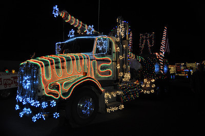 José Quezada/For the Times-Standard  Darrell Baker Trucking was awarded first place for floats under 40 feet long in this year's KEKA Truckers Christmas Parade Saturday night.  Huge throngs of folks braved the chilly but clear weather to check out over 50 electrified Christmas floats jammed with holiday lights, seasons greetings and more than a few Santa Claus' waving from on high.  This year's winners were:    1st Place, Large Float  Humboldt County Public Works  2nd Place, Large Float Old Town Muffler   1st Place, Small Float Darrell Baker Trucking   2nd Place, Small Float Timber Heritage Association