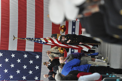 JosŽ Quezada/For the Times-Standard  The Pledge of Allegiance at the start of the Rotary Club of Southwest Eureka presentation of a Veterans Day program featuring speaker U.S. Army Reserve General Al Zapanta.