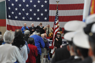 José Quezada/For the Times-Standard  The Pledge of Allegiance at the start of the Rotary Club of Southwest Eureka presentation of a Veterans Day program featuring speaker U.S. Army Reserve General Al Zapanta.