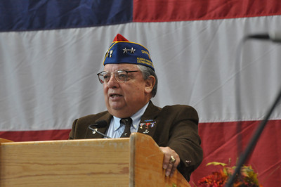José Quezada/For the Times-Standard  U.S. Army Reserve General Al Zapanta speaks as the featured speaker at the Rotary Club of Southwest Eureka Veterans Day program at the Adorni Center on Sunday.