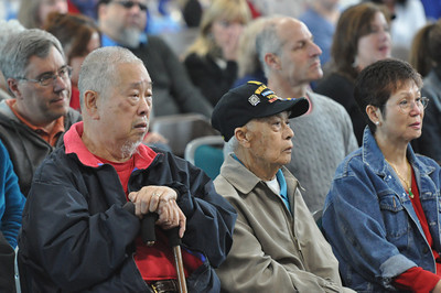 José Quezada/For the Times-Standard  Korean veteran David Tom and World War II veteran Ben Chin sit with a huge audience filling the Adorni Center on Sunday. The Rotary Club of Southwest Eureka presented a Veterans Day program featuring speaker U.S. Army Reserve General Al Zapanta as the featured speaker.