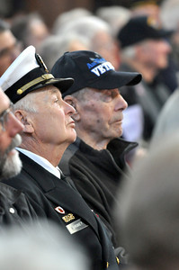 "José Quezada/For the Times-Standard  Retired Lt. Commander John Grobey, United States Navy, sits next to World War II Air Force veteran Bill Forrest as they listen to featured speaker Rick Center. A salute to veterans, ""Silent Heroes"" was presented by Fortuna Senior Services at the Fortuna Veterans Hall on Sunday."