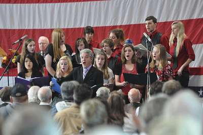 José Quezada/For the Times-Standard  The Eureka High School Symphonic band and the Limited Edition Chorus performed a stirring Battle Hymn of the Republic at the Adorni Center on Sunday. The Rotary Club of Southwest Eureka presented a Veterans Day program featuring speaker U.S. Army Reserve General Al Zapanta as the featured speaker.