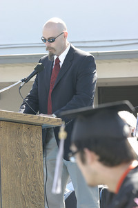 Josh Jackson/The Times-Standard  Dave Orphal delivers the keynote address to the 2007 graduating class of Zoe Barnum High School on Wednesday. 32 students received their diplomas during the ceremony.