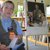 Christopher Bilotta, a third grader at Farmington River Regional Elementary School, on Thursday dressed as artist Norman Rockwell for a school project that called on him to research a famous Massachusetts native. 06/06/2013. SAKATA