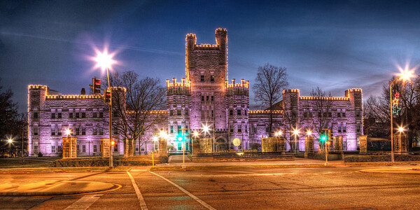 When this photo of Old Main, Eastern Illinois University, was taken, the flag was still at half-mast in honor of the children and instructors killed at Sandy Hook Elementary, CT.   Cropped as a panoramic 4x8, 5x10,10x20 etc.