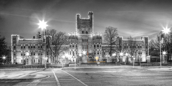 When this photo of Old Main, Eastern Illinois University, was taken, the flag was still at half-mast in honor of the children and instructors killed at Sandy Hook Elementary, CT.   Cropped as a panoramic 4x8, 5x10,10x20 etc