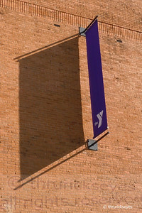 The YMCA banner in the early morning sunlight.