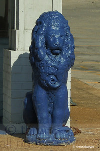 Blue lion in front of a business near Douglas Corner off 8th Avenue.